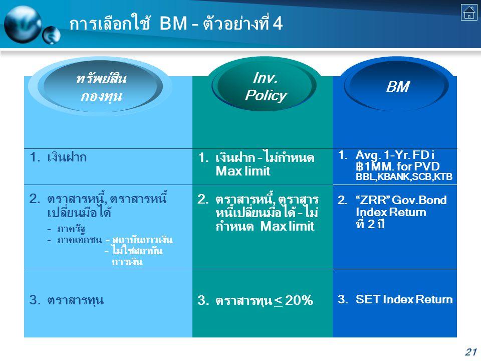 21 การเลือกใช้ BM – ตัวอย่างที่ 4 ทรัพย์สิน กองทุน BM Inv.