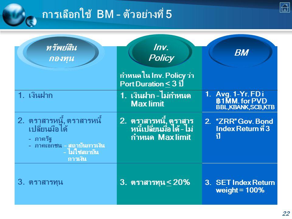 22 การเลือกใช้ BM – ตัวอย่างที่ 5 ทรัพย์สิน กองทุน BM Inv.