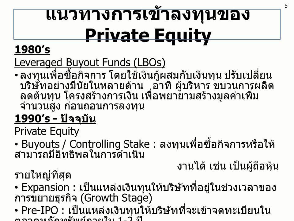แนวทางการเข้าลงทุนของ Private Equity 1980's Leveraged Buyout Funds (LBOs) ลงทุนเพื่อซื้อกิจการ โดยใช้เงินกู้ผสมกับเงินทุน ปรับเปลี่ยน บริษัทอย่างมีนัย