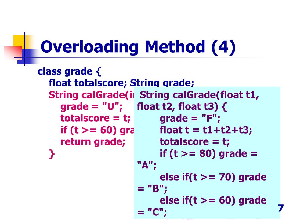 class grade { float totalscore; String grade; String calGrade(int t) { grade =