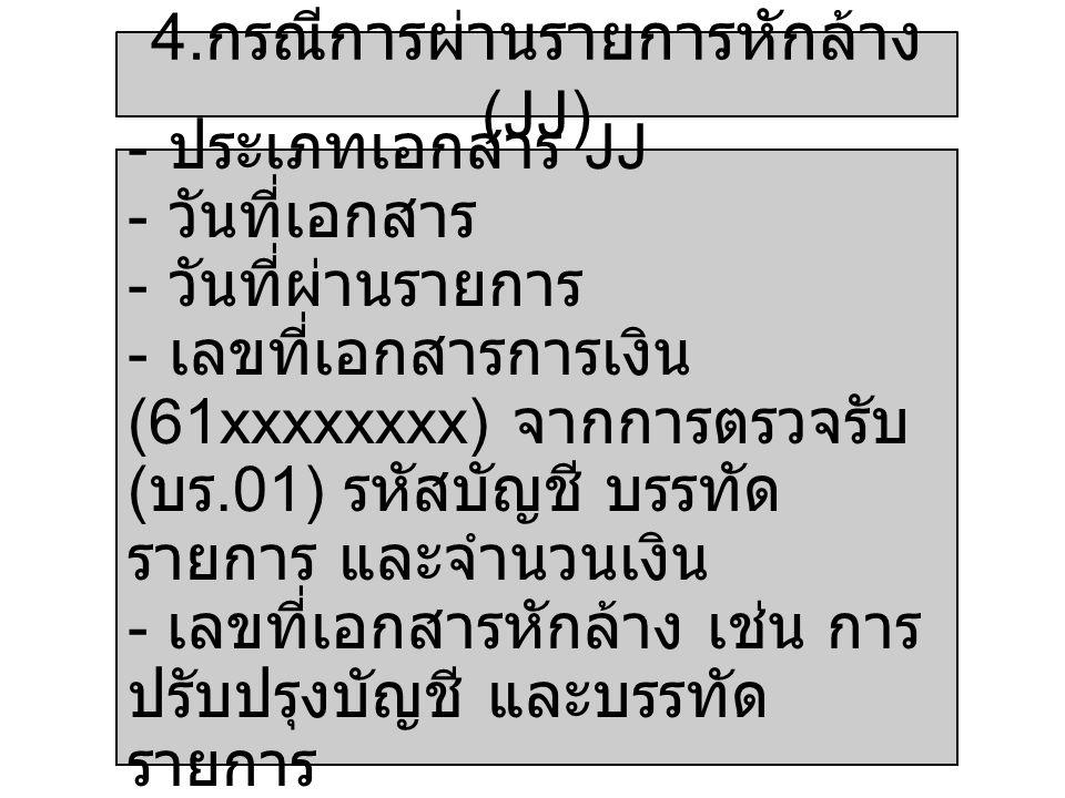 4. กรณีการผ่านรายการหักล้าง (JJ) - ประเภทเอกสาร JJ - วันที่เอกสาร - วันที่ผ่านรายการ - เลขที่เอกสารการเงิน (61xxxxxxxx) จากการตรวจรับ ( บร.01) รหัสบัญ