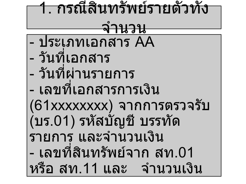- ประเภทเอกสาร AA - วันที่เอกสาร - วันที่ผ่านรายการ - เลขที่เอกสารการเงิน (61xxxxxxxx) จากการตรวจรับ ( บร.01) รหัสบัญชี บรรทัด รายการ และจำนวนเงิน - เ