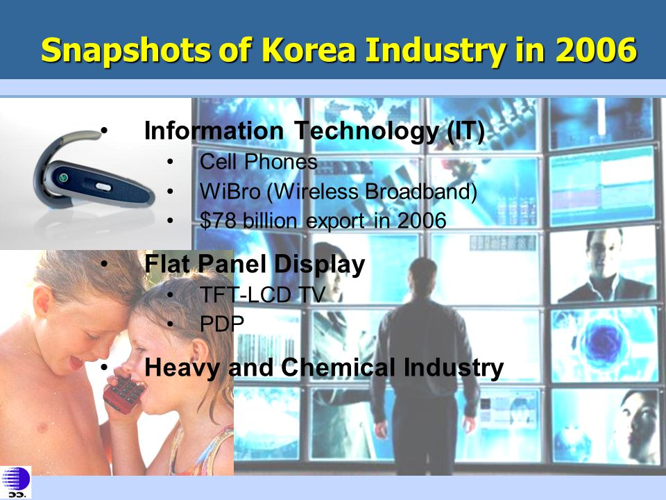 Snapshots of Korea Industry in 2006 Information Technology (IT) Cell Phones WiBro (Wireless Broadband) $78 billion export in 2006 Flat Panel Display T