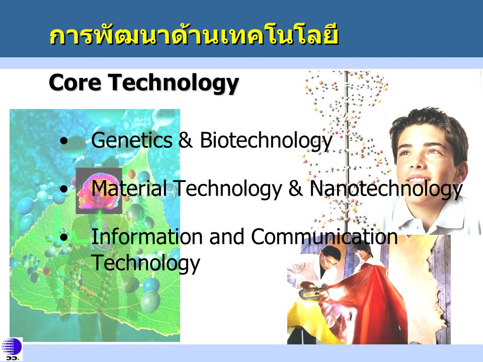 การพัฒนาด้านเทคโนโลยี Core Technology Genetics & Biotechnology Material Technology & Nanotechnology Information and Communication Technology