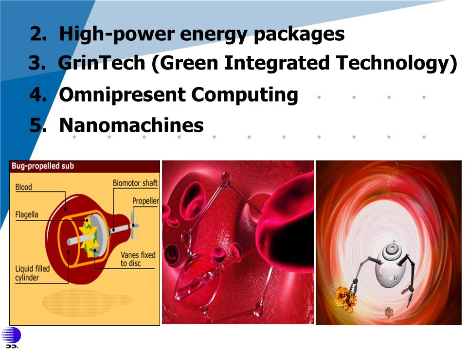 2. High-power energy packages 3. GrinTech (Green Integrated Technology) 4. Omnipresent Computing 5. Nanomachines