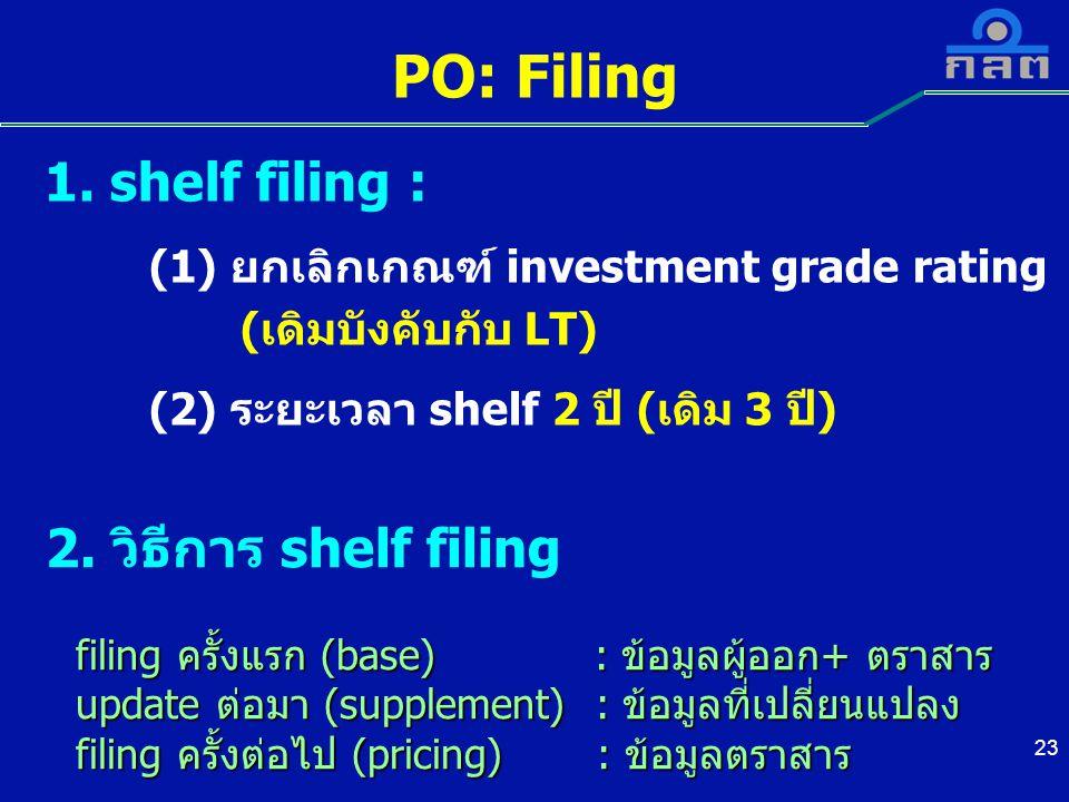 23 PO: Filing 1. shelf filing : (1) ยกเลิกเกณฑ์ investment grade rating (เดิมบังคับกับ LT) (2) ระยะเวลา shelf 2 ปี (เดิม 3 ปี) 2. วิธีการ shelf filing