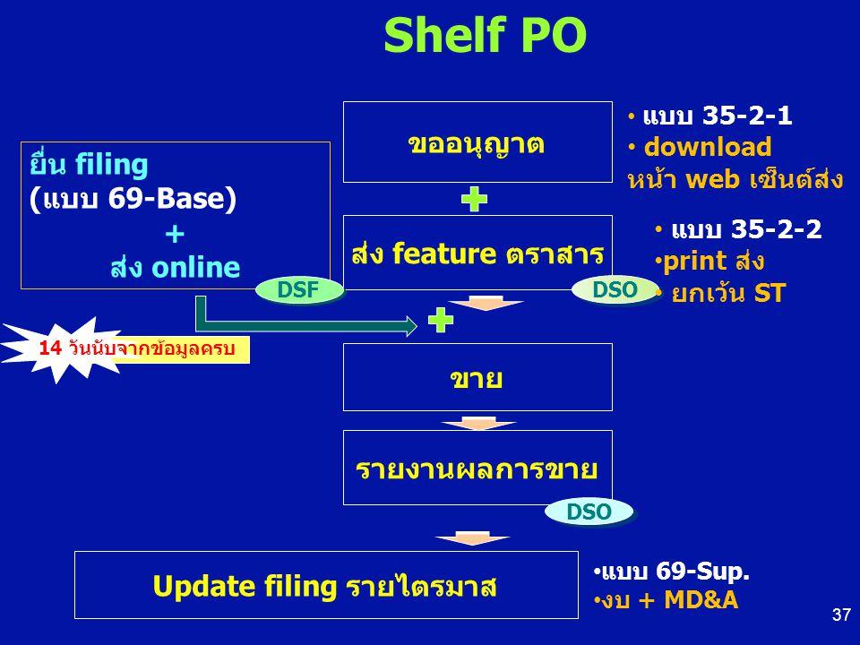 ยื่น filing (แบบ 69-Base) + ส่ง online แบบ 35-2-1 download หน้า web เซ็นต์ส่ง ขออนุญาต ส่ง feature ตราสาร ขาย รายงานผลการขาย DSO แบบ 35-2-2 print ส่ง