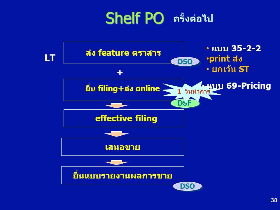 Shelf PO ส่ง feature ตราสาร ยื่น filing+ส่ง online DSO + DSF effective filing 1 วันทำการ ยื่นแบบรายงานผลการขาย DSO ครั้งต่อไป LT เสนอขาย แบบ 35-2-2 pr