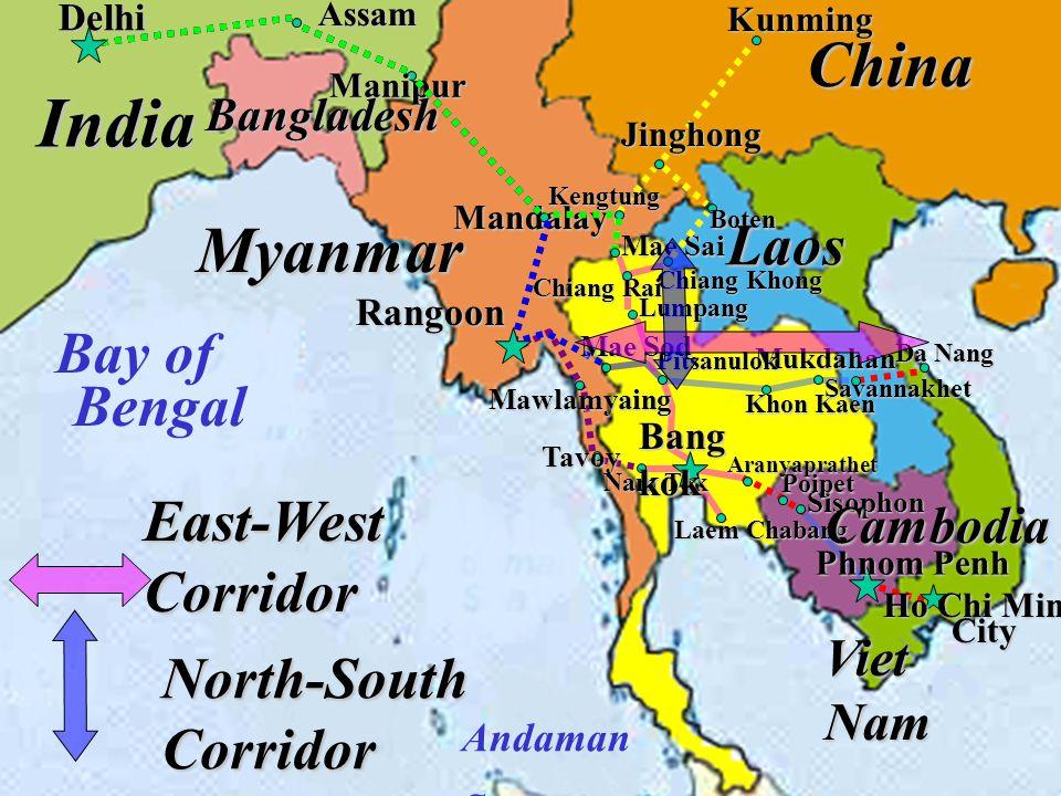 Khon Kaen Mukdahan Pitsanulok Lumpang Tavoy Mawlamyaing Nam Tok Laem Chabang Sisophon Savannakhet Da Nang Poipet Ho Chi Minh City Mae Sod Assam Manipu
