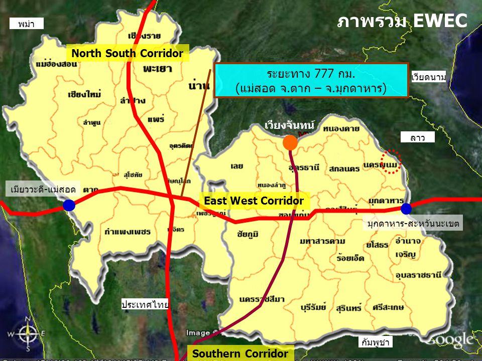 North South Corridor ประเทศไทย ลาว เวียดนาม กัมพูชา พม่า ภาพรวม EWEC ระยะทาง 777 กม. (แม่สอด จ.ตาก – จ.มุกดาหาร) เมียววะดี-แม่สอด มุกดาหาร-สะหวันนะเขต