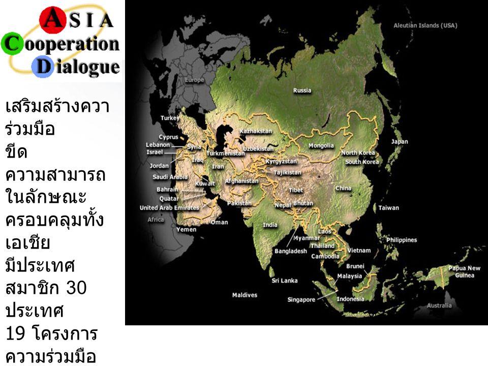 เสริมสร้างควา ร่วมมือ ขีด ความสามารถ ในลักษณะ ครอบคลุมทั้ง เอเชีย มีประเทศ สมาชิก 30 ประเทศ 19 โครงการ ความร่วมมือ ก่อตั้งเมื่อ ค. ศ. 2002 โดยริเริ่ม