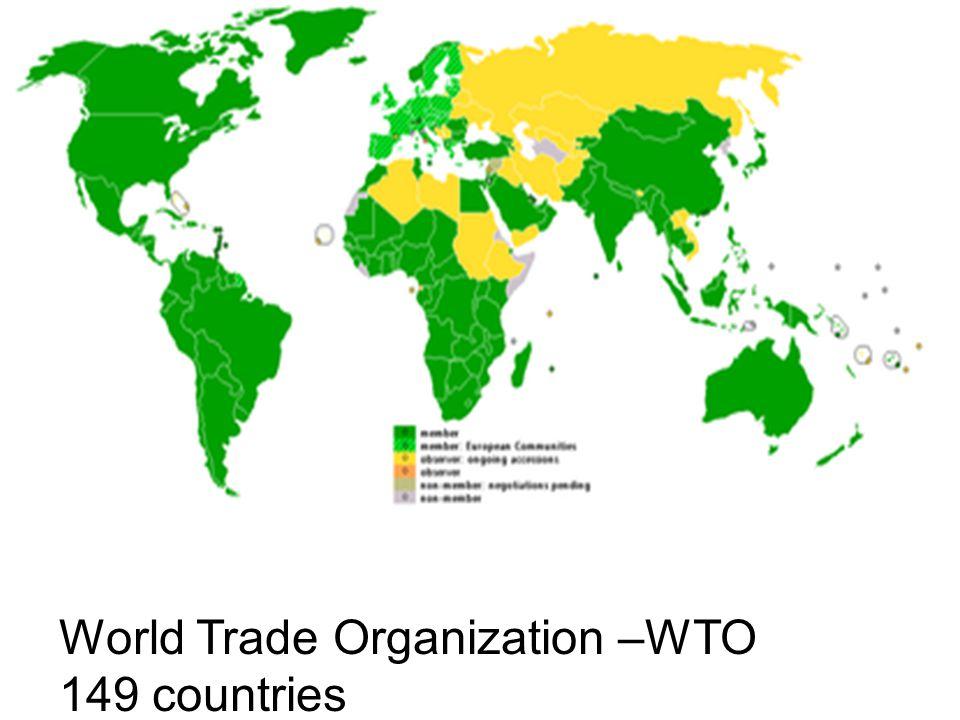 World Trade Organization –WTO 149 countries