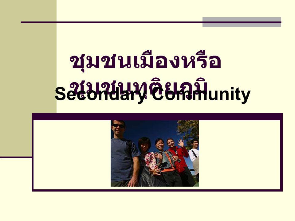 ชุมชนเมืองหรือ ชุมชนทุติยภูมิ Secondary Community