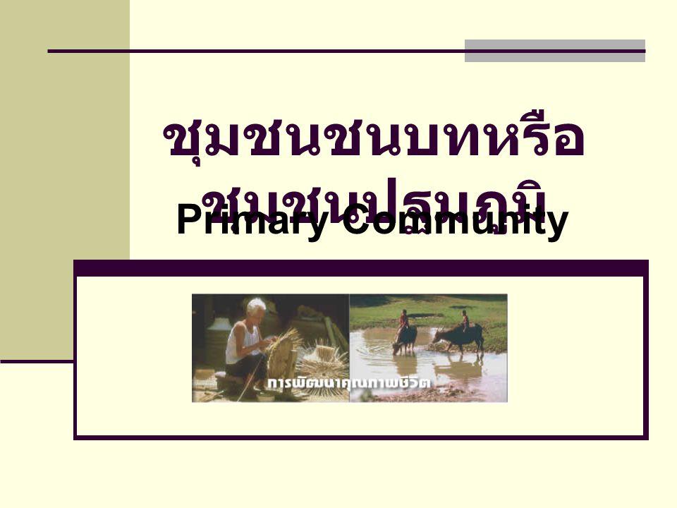 ชุมชนชนบทหรือ ชุมชนปฐมภูมิ Primary Community
