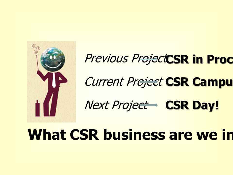 Previous Project Current Project Next Project CSR in Process CSR Campus CSR Day! What CSR business are we in?