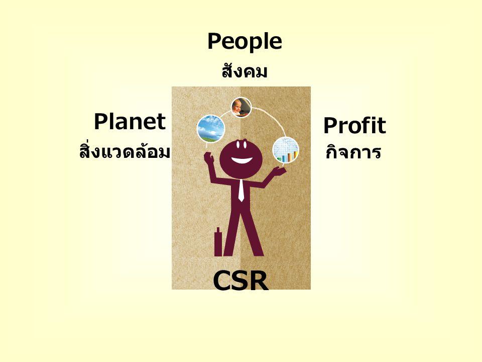 สิ่งแวดล้อม สังคม กิจการ Profit CSR People Planet