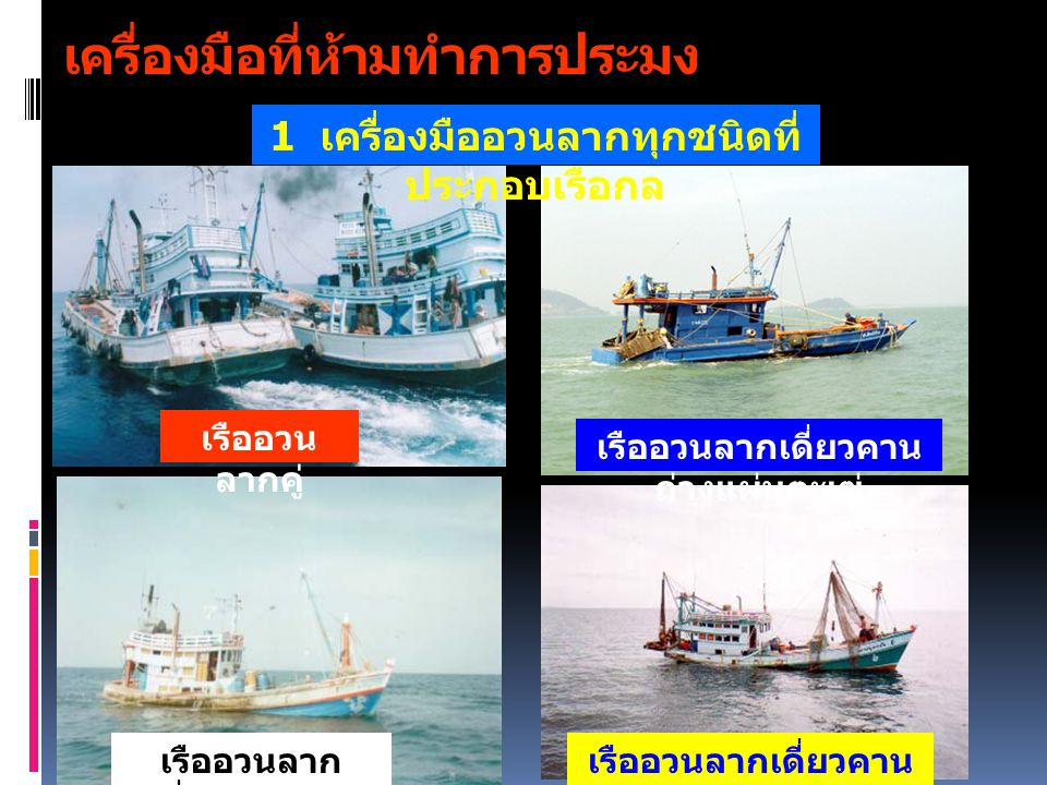 เครื่องมือที่ห้ามทำการประมง เรืออวน ลากคู่ เรืออวนลากเดี่ยวคาน ถ่างแผ่นตะเฆ่ เรืออวนลาก เดี่ยวคานถ่าง เรืออวนลากเดี่ยวคาน ถ่าง ( ลากแขก ) 1 เครื่องมือ