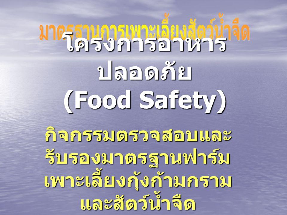 โครงการอาหาร ปลอดภัย (Food Safety) กิจกรรมตรวจสอบและ รับรองมาตรฐานฟาร์ม เพาะเลี้ยงกุ้งก้ามกราม และสัตว์น้ำจืด