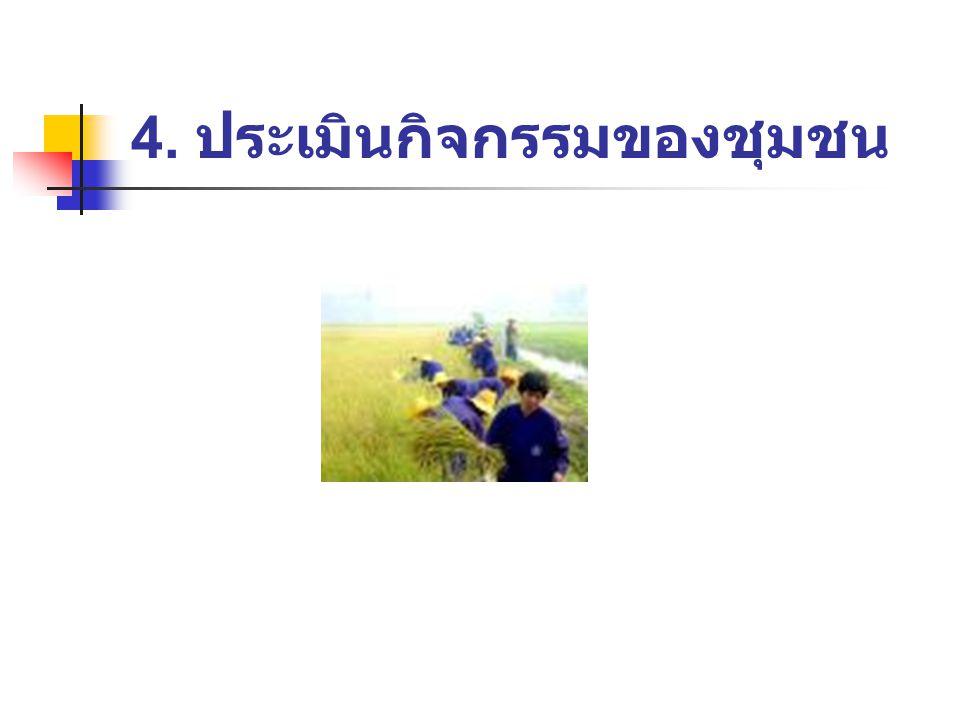 4. ประเมินกิจกรรมของชุมชน
