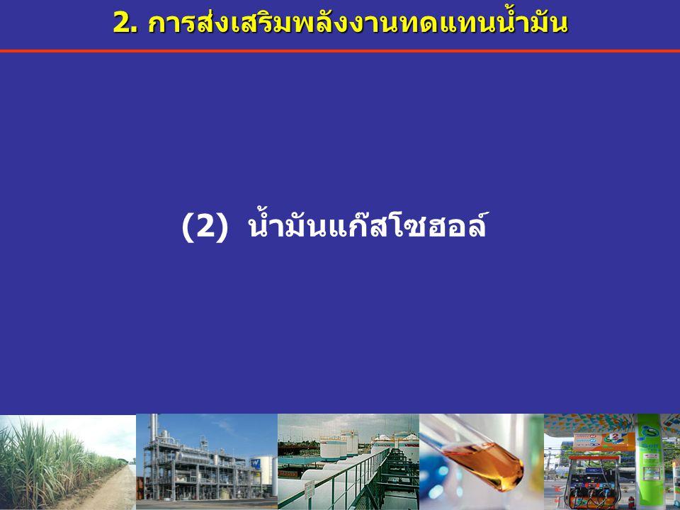 (2) น้ำมันแก๊สโซฮอล์ 2. การส่งเสริมพลังงานทดแทนน้ำมัน