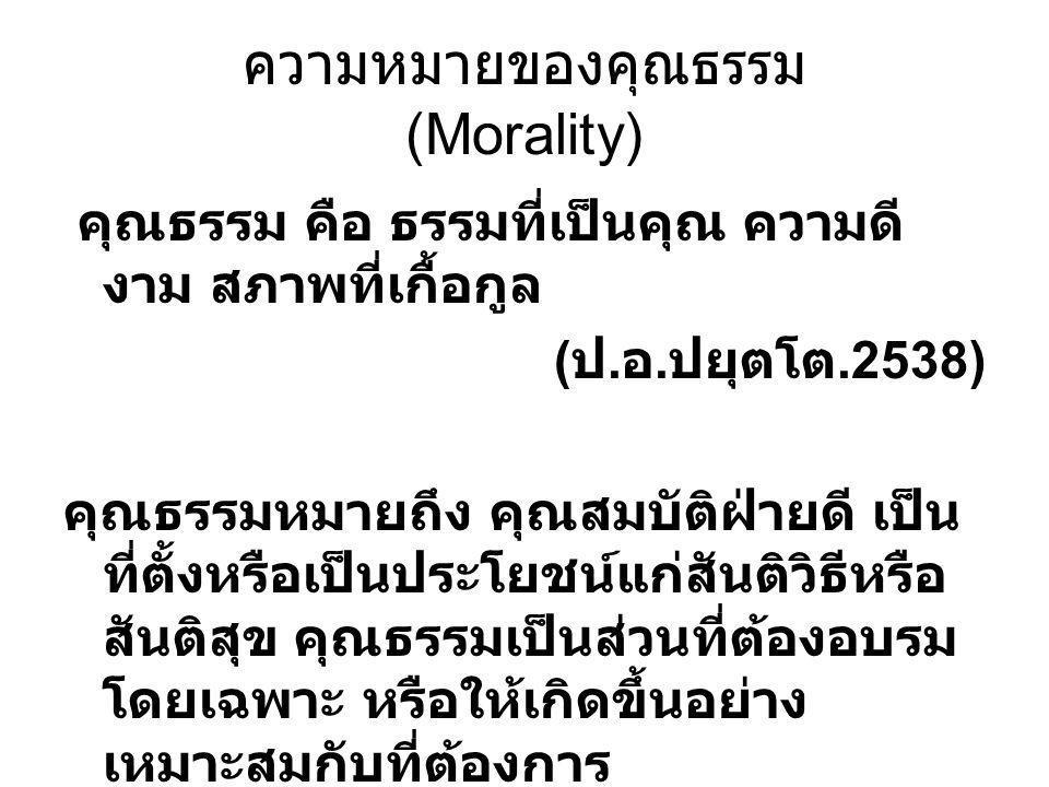 ความหมายของคุณธรรม (Morality) คุณธรรม คือ ธรรมที่เป็นคุณ ความดี งาม สภาพที่เกื้อกูล ( ป. อ. ปยุตโต.2538) คุณธรรมหมายถึง คุณสมบัติฝ่ายดี เป็น ที่ตั้งหร
