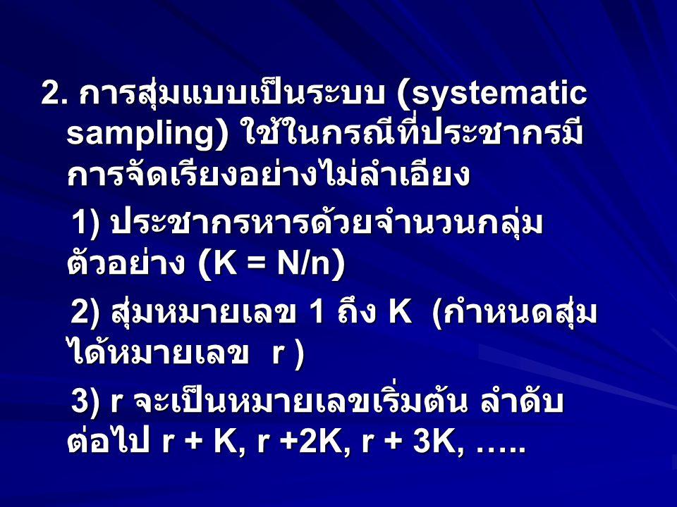 2. การสุ่มแบบเป็นระบบ (systematic sampling) ใช้ในกรณีที่ประชากรมี การจัดเรียงอย่างไม่ลำเอียง 1) ประชากรหารด้วยจำนวนกลุ่ม ตัวอย่าง (K = N/n) 1) ประชากร