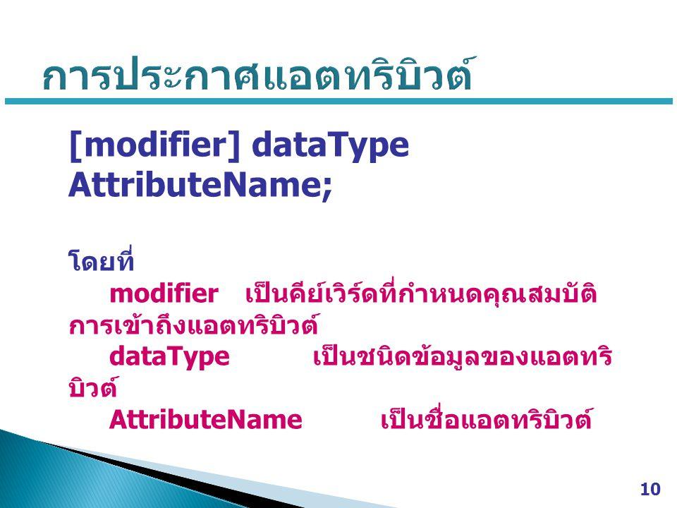 [modifier] dataType AttributeName; โดยที่ modifier เป็นคีย์เวิร์ดที่กำหนดคุณสมบัติ การเข้าถึงแอตทริบิวต์ dataType เป็นชนิดข้อมูลของแอตทริ บิวต์ AttributeName เป็นชื่อแอตทริบิวต์ 10