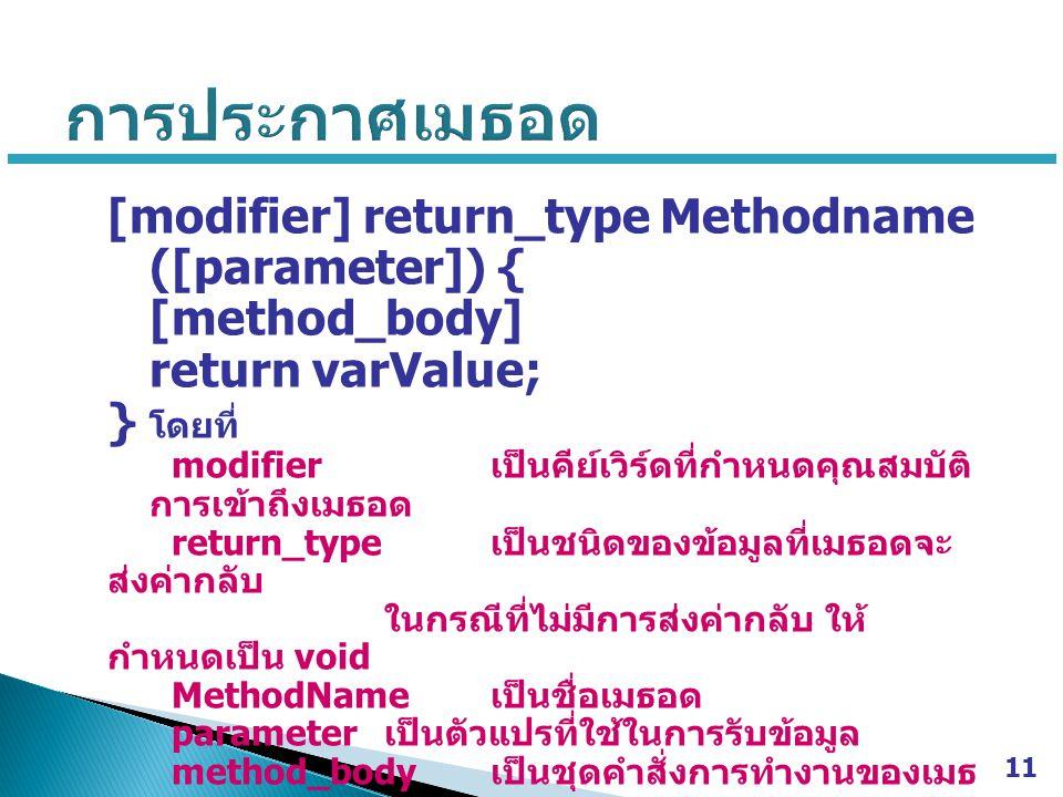 [modifier] return_type Methodname ([parameter]) { [method_body] return varValue; } โดยที่ modifier เป็นคีย์เวิร์ดที่กำหนดคุณสมบัติ การเข้าถึงเมธอด return_type เป็นชนิดของข้อมูลที่เมธอดจะ ส่งค่ากลับ ในกรณีที่ไม่มีการส่งค่ากลับ ให้ กำหนดเป็น void MethodName เป็นชื่อเมธอด parameter เป็นตัวแปรที่ใช้ในการรับข้อมูล method_body เป็นชุดคำสั่งการทำงานของเมธ อด varValue เป็นค่าที่ต้องการส่งค่ากลับ ใน กรณีที่กำหนดให้ return_type เป็น void จะไม่มีคำสั่ง return 11