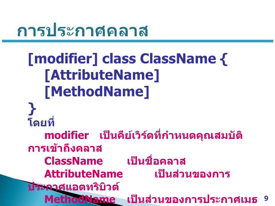 [modifier] class ClassName { [AttributeName] [MethodName] } โดยที่ modifier เป็นคีย์เวิร์ดที่กำหนดคุณสมบัติ การเข้าถึงคลาส ClassName เป็นชื่อคลาส AttributeName เป็นส่วนของการ ประกาศแอตทริบิวต์ MethodName เป็นส่วนของการประกาศเมธ อด 9