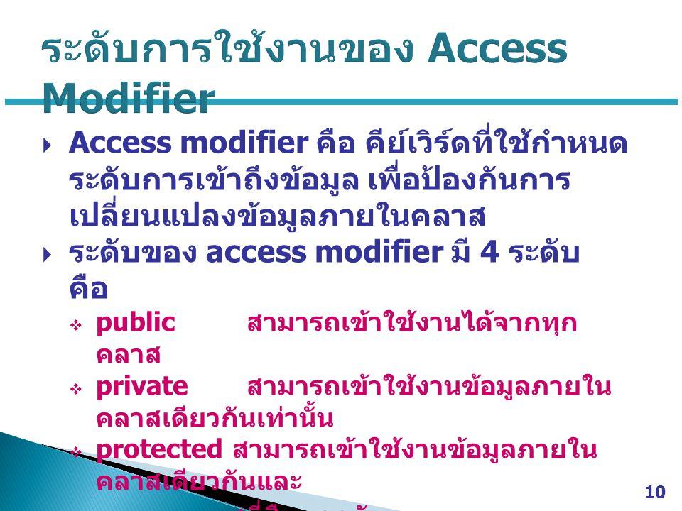  Access modifier คือ คีย์เวิร์ดที่ใช้กำหนด ระดับการเข้าถึงข้อมูล เพื่อป้องกันการ เปลี่ยนแปลงข้อมูลภายในคลาส  ระดับของ access modifier มี 4 ระดับ คือ