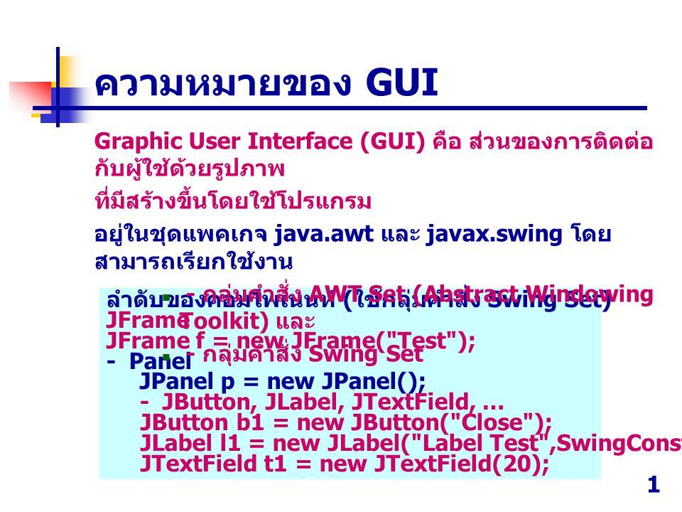 1 ลำดับของคอมโพเนนท์ ( ใช้กลุ่มคำสั่ง Swing Set) JFrame JFrame f = new JFrame( Test ); - Panel JPanel p = new JPanel(); - JButton, JLabel, JTextField, … JButton b1 = new JButton( Close ); JLabel l1 = new JLabel( Label Test ,SwingConstants.CENTER); JTextField t1 = new JTextField(20); ความหมายของ GUI Graphic User Interface (GUI) คือ ส่วนของการติดต่อ กับผู้ใช้ด้วยรูปภาพ ที่มีสร้างขึ้นโดยใช้โปรแกรม อยู่ในชุดแพคเกจ java.awt และ javax.swing โดย สามารถเรียกใช้งาน - กลุ่มคำสั่ง AWT Set (Abstract Windowing Toolkit) และ - กลุ่มคำสั่ง Swing Set