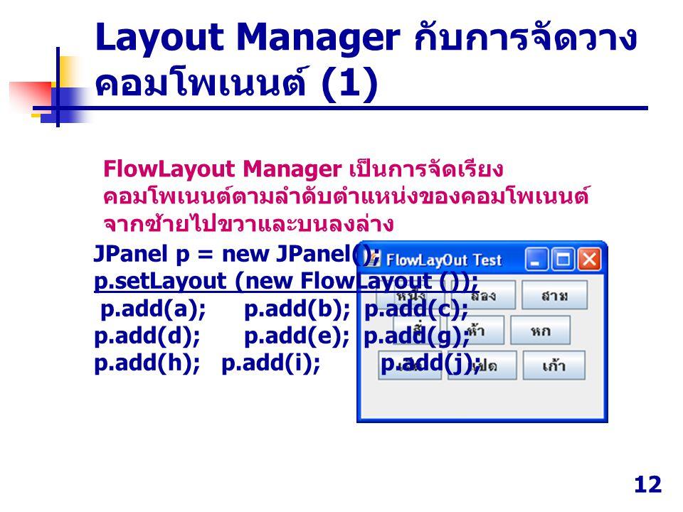 12 FlowLayout Manager เป็นการจัดเรียง คอมโพเนนต์ตามลำดับตำแหน่งของคอมโพเนนต์ จากซ้ายไปขวาและบนลงล่าง JPanel p = new JPanel(); p.setLayout (new FlowLay