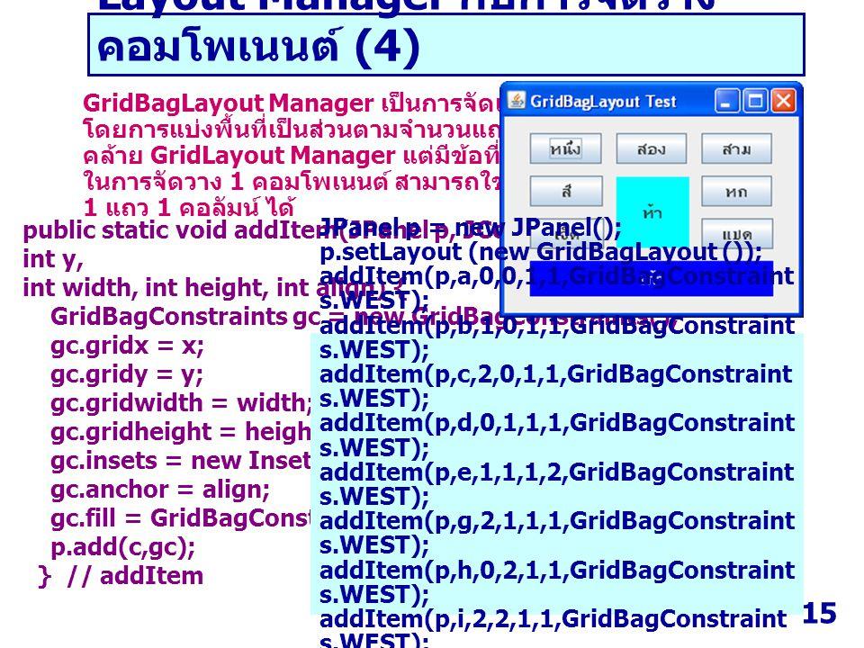 15 Layout Manager กับการจัดวาง คอมโพเนนต์ (4) GridBagLayout Manager เป็นการจัดเรียงคอมโพเนนต์ โดยการแบ่งพื้นที่เป็นส่วนตามจำนวนแถวและคอลัมน์ คล้าย Gri