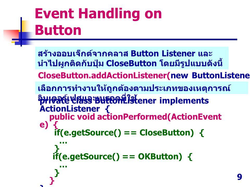 9 CloseButton.addActionListener(new ButtonListener()); private class ButtonListener implements ActionListener { public void actionPerformed(ActionEven