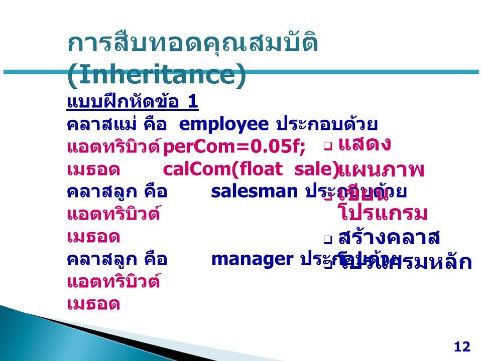 แบบฝึกหัดข้อ 1 คลาสแม่ คือ employee ประกอบด้วย แอตทริบิวต์ perCom=0.05f; เมธอด calCom(float sale) คลาสลูก คือ salesman ประกอบด้วย แอตทริบิวต์ เมธอด คล