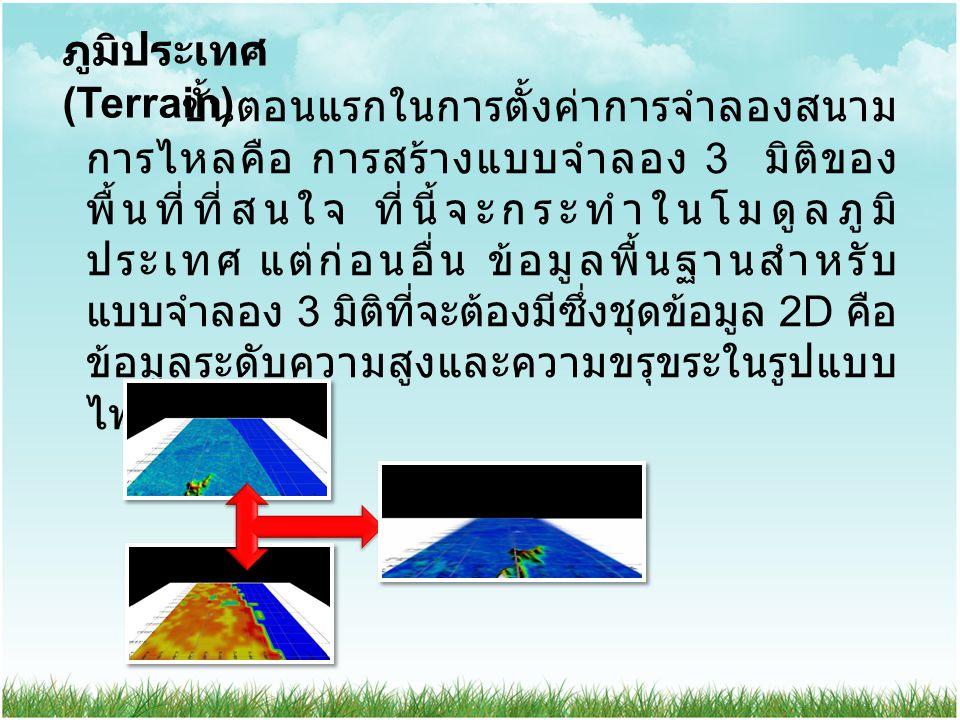 ภูมิประเทศ (Terrain) ขั้นตอนแรกในการตั้งค่าการจำลองสนาม การไหลคือ การสร้างแบบจำลอง 3 มิติของ พื้นที่ที่สนใจ ที่นี้จะกระทำในโมดูลภูมิ ประเทศ แต่ก่อนอื่น ข้อมูลพื้นฐานสำหรับ แบบจำลอง 3 มิติที่จะต้องมีซึ่งชุดข้อมูล 2D คือ ข้อมูลระดับความสูงและความขรุขระในรูปแบบ ไฟล์.GWS