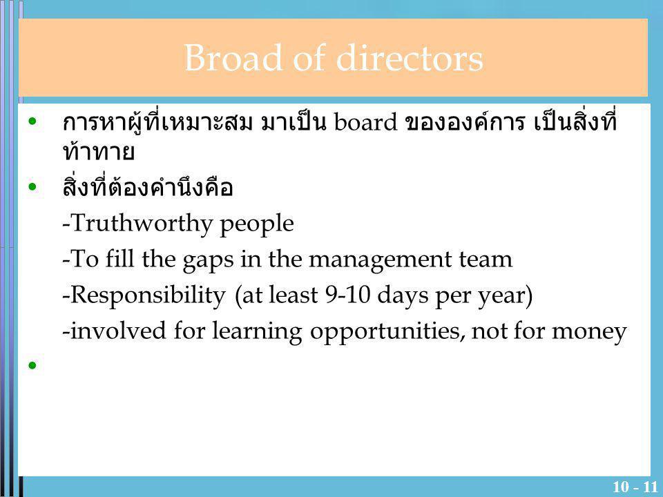 10 - 11 การหาผู้ที่เหมาะสม มาเป็น board ขององค์การ เป็นสิ่งที่ ท้าทาย สิ่งที่ต้องคำนึงคือ -Truthworthy people -To fill the gaps in the management team