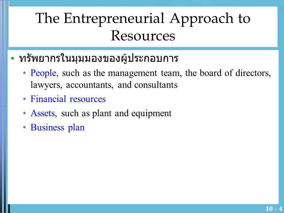 10 - 5 Resource Minimization Strategy entrepreneurs reduce กลยุทธ์การใช้ทรัพยากรน้อยที่สุดมี แนวคิดว่า ต้องเน้นการควบคุมทรัพยากร มากกว่าการเป็น เจ้าของทรัพยากรเหล่านั้น (By controlling resources, instead of owning them) ซึ่งจะทำให้ลดความเสี่ยงในด้าน ต่างๆดังนี้ Less capital is required ( เงินทุนที่ต้องการใช้ต่ำ ) Staged capital commitments ( เงินทุนขั้นเริ่มต้นน้อย ) More flexibility ( ยืดหยุ่นมีมากขึ้น ความคิดที่จะทำธุรกิจ ตัดสินใจได้เร็ว โดยไม่ต้องห่วงพันธะด้านทรัพยากรมาก ) Low sunk cost ( ต้นทุนจมต่ำ ทำให้เลิกกิจการได้แบบเจ็บตัว น้อย ) Lower costs ( ต้นทุนคงที่ต่ำ ซึ่งทำให้จุดคุ้มทุนต่ำด้วย ) Reduced risk ( ลดความเสี่ยงด้านทรัพยากรที่จะล้าสมัย