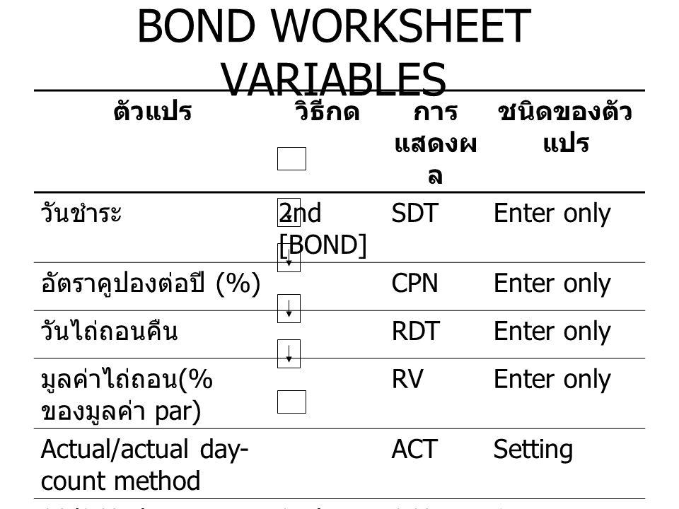 BOND WORKSHEET VARIABLES ( ต่อ ) ตัวแปรวิธีกดการ แสดงผ ล ชนิดของตัว แปร จ่ายคูปองปีละ 2 ครั้ง 2/YSetting จ่ายคูปองปีละ 1 ครั้ง 2nd [SET] 1/YSetting Yield สำหรับไถ่ถอน คืน YLDEnter/comp ute ราคา ( จำนวนเงิน ) PRIEnter/comp ute ดอกเบี้ยค้างรับ AIAuto- compute ดูเรชั่นที่แปลง DURAuto- compute