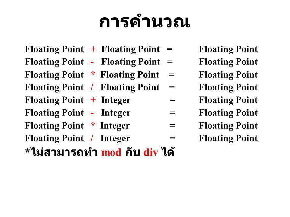 2. ข้อมูลชนิดจำนวนจริง (Floating Point) จำนวนจริง มีจุดทศนิยม จำนวนจริง มีจุดทศนิยม มีขนาด 2 Byte หรือ 16 Bit มีขนาด 2 Byte หรือ 16 Bit เช่น 30.5, 45.