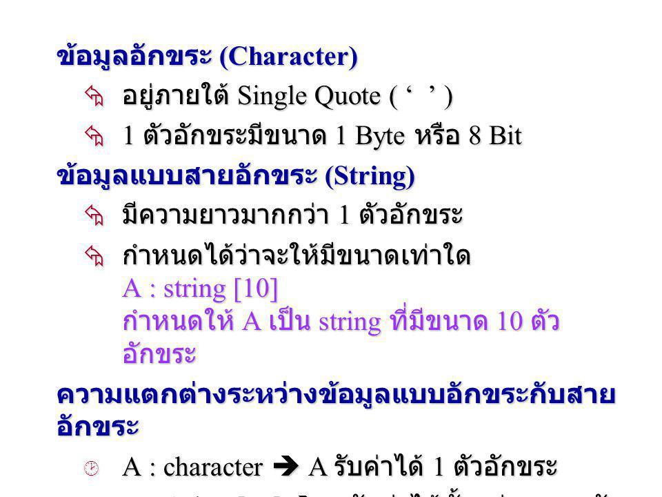 3. ข้อมูลชนิดตัวอักขระ 3.1 ข้อมูลอักขระ (Character) 3.2 ข้อมูลแบบสายอักขระ (String)