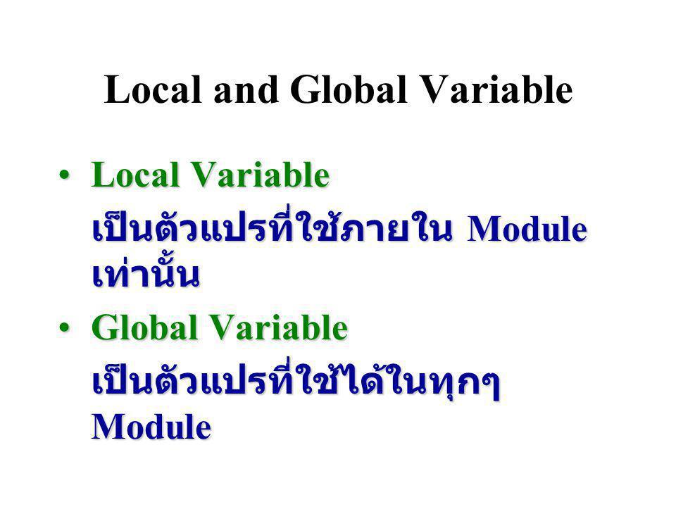 ตัวแปรและชนิดข้อมูล (Variables and Data Types) ตัวแปรแต่ละตัวจะมีชนิดของ ข้อมูลที่เก็บ 4 ชนิด 1. ข้อมูลชนิดจำนวนเต็ม 2. ข้อมูลชนิดจำนวนจริง 3. ข้อมูลช