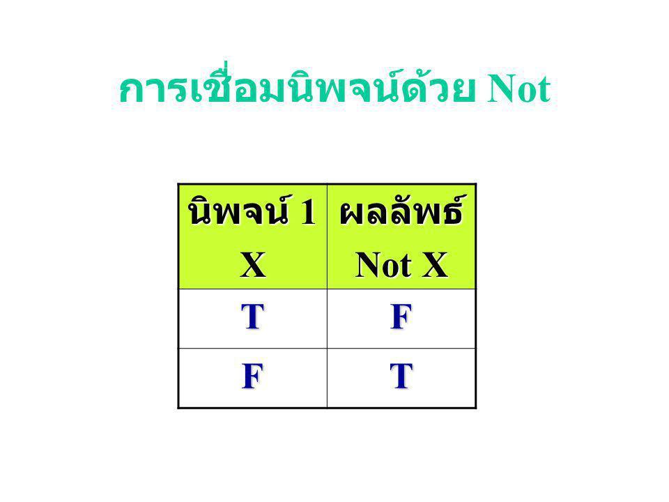 การเชื่อมนิพจน์ด้วย Or นิพจน์ 1 X นิพจน์ 2 Yผลลัพธ์ X or Y TTT TFT FTT FFF