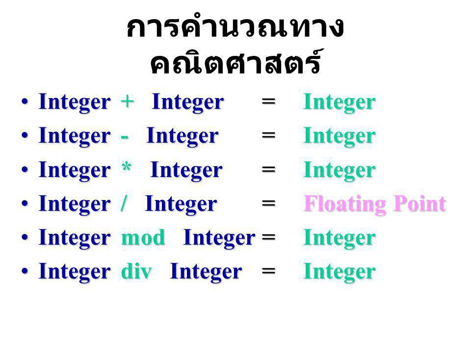 การคำนวณทาง คณิตศาสตร์ Integer + Integer =IntegerInteger + Integer =Integer Integer - Integer =IntegerInteger - Integer =Integer Integer * Integer =IntegerInteger * Integer =Integer Integer / Integer =Floating PointInteger / Integer =Floating Point Integer mod Integer =IntegerInteger mod Integer =Integer Integer div Integer =IntegerInteger div Integer =Integer