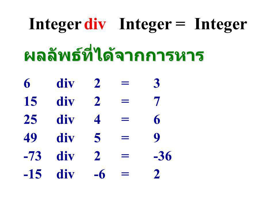Integer mod Integer =Integer K mod M = r K = Mq + r (0 0) 25 mod 7 = 425 = 7*3 + 4 25 mod 5= 025 = 5*5 + 0 6mod2=0 15mod5=0 25mod4=1 49mod5=4