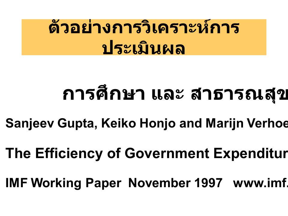 ตัวอย่างการวิเคราะห์การ ประเมินผล การศึกษา และ สาธารณสุข Sanjeev Gupta, Keiko Honjo and Marijn Verhoeven The Efficiency of Government Expenditure: Experiences form Africa IMF Working Paper November 1997 www.imf.org
