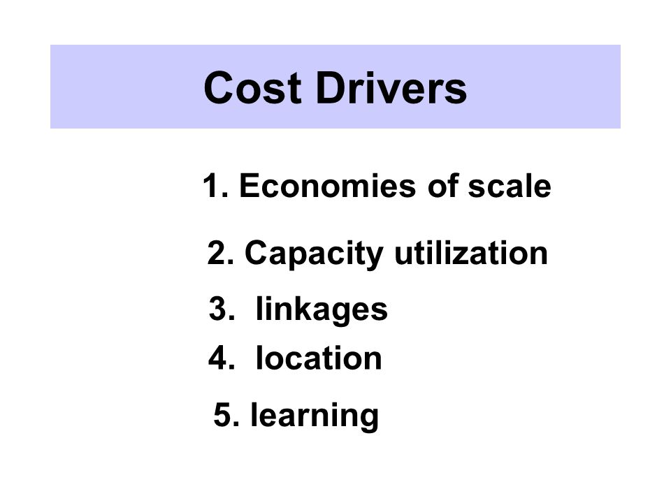 Cost Drivers 1. Economies of scale 2. Capacity utilization 3. linkages 4. location 5. learning
