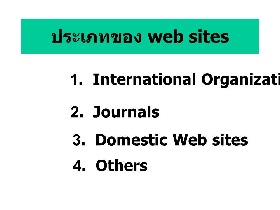 ประเภทของ web sites 1. International Organizations 2. Journals 3. Domestic Web sites 4. Others
