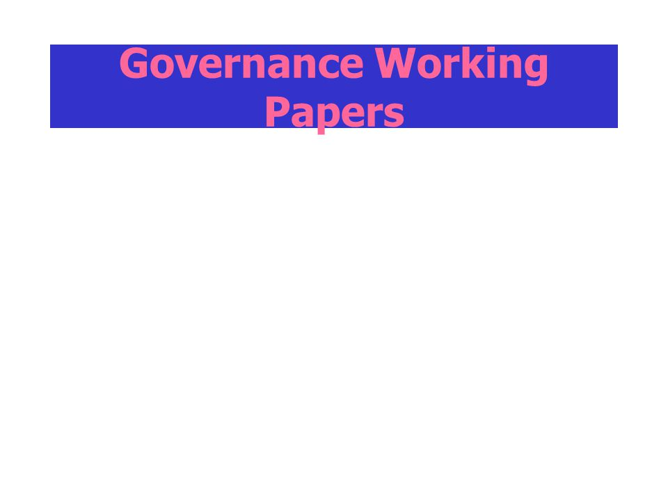 Governance Working Papers
