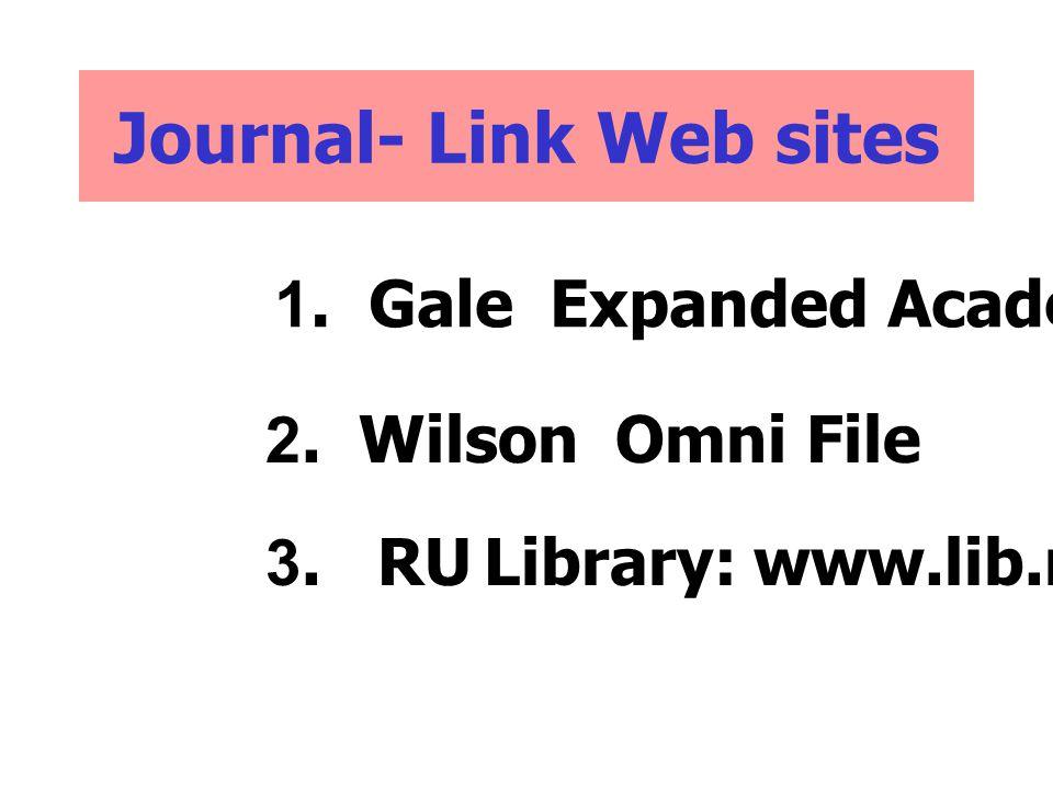 Journal- Link Web sites 1. Gale Expanded Academic 2. Wilson Omni File 3. RU Library: www.lib.ru.ac.th